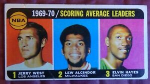 1970 Topps Basketball Jerry West, Lew Alcindor & Elvin Hayes SCORING LDRS #2