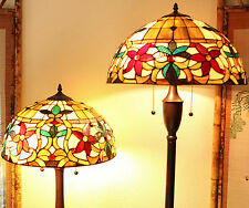 "Tiffany Style Stained Glass Floral Table and Floor Lamp Set 2 Light 18"" Shade"