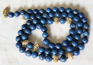 Antique Filigree 14K GF & Lapis Lazuli 6mm Bead Necklace Strand Princess Length