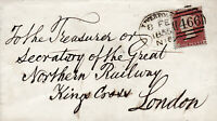 1855 QV LIVERPOOL SPOON ON COVER WITH A 1d RED STAMP TO GREAT NORTHERN RAILWAY