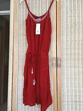 french connection red beaded neckline Mid Length  maxi dress Size 12