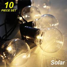 10 Piece LED Solar Clear Globe Festoon String Light Kit - Designer Mood Lighting