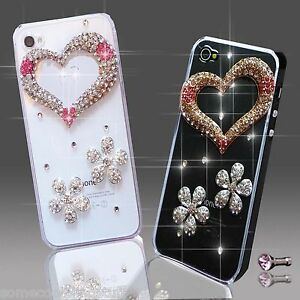 NEW 3D DELUX COOL BLING DIAMANTE FLOWER CASE 4 MOBILE PHONES iPHONE HTC SAMSUNG
