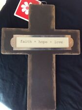 """Hanging Decor Christian Cross with """" faith * hope * love* """" Saying New w/Tags"""