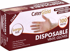 More details for disposable clear vinyl gloves for catering powder free latex free 100pk size l