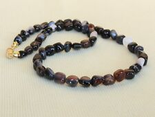 "Natural Black agate COLLANA 16 "" 7mm Pebble Perline grado"" A ""Naturale Agate Beads"