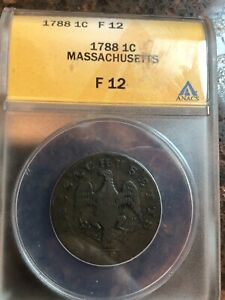SASA 1788 Massachusetts Cent Colonial Copper Coin - Certified Anacs F12