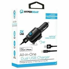 Dual USB Car and Wall Charger with Lightning Cable All-In-One HyperGear  Black