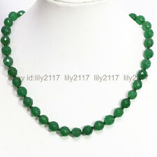 """Round Beads Necklace 18"""" Aaa Genuine 12mm Faceted Green Emerald Gemstone"""