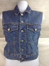 Vintage Calvin Klein CK Jeans Blue Antique Wash Denim Urban Jean Vest Sz S