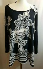 OVS Curvy Style Womens Blouse Size 2XL 22 Dark Blue White Floral Print NEW