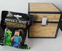 Minecraft Chest Wooden Piggy Bank + Bonus Hanger Mystery Figure Blind Bag