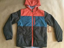 $59 Element Boy's Puffer Hood Jacket Brown/Orange/Teal Size M
