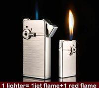 Blue Jet Red Flame 2 Flame Lighter Cigar Windproof Refillable Lighter Lock Metal
