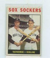 Carl Yastrzemski / Chuck Schilling 1964 Topps Sox Sockers #182 Back Corner damag