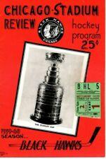 1960 (Mar.29) Hockey program Stanley Cup Playoffs w/ticket Montreal @ Chicago~VG