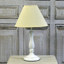 French Style Shabby Chic Farmhouse White Wash Distressed Table Lamp Linen Shade