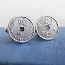 1940s 10 Ore Norge Silver Tone Coins Norway Coin Cuff Links - Repurposed Vintage