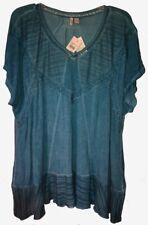 C'est 1946 Distressed Teal Blue Tie-Dye'ish Tunic Top Boho,Open Work+ $46 18/20