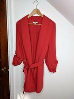 BAR III Red Wrap Trench Shawl Collar Jacket Coat Women's Size 1x NWOT