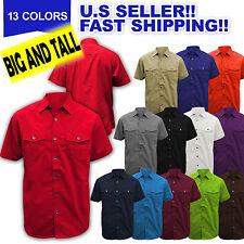 BIG AND TALL Men PLAIN WOVEN SHIRT Button Down SOLID BASIC DRESS SHIRTS M-6XL