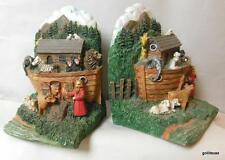 """Noah's Ark Book Ends Resin Hand Painted 6.5 x 4 x 4"""" HEAVY"""
