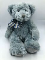 Russ Berrie Stormy Blue Grey Bow Tie Teddy Bear Plush Soft Stuffed Toy Animal