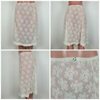 VINTAGE Olga Sheer White Lace Half NYLON Slip Skirt M Young Romantic Made USA