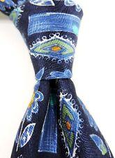 Austin Reed Imprimé Jacquard 100% Cravate en Soie - Bleu Jaune Design Fleur
