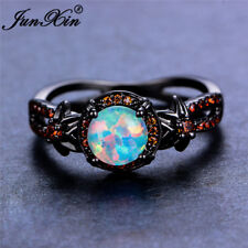 White Fire Opal Star Flower Ruby Ring Black Gold Jewelry Wedding Band Size 6-10