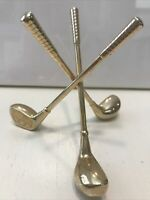 Vintage Sold Brass Golf Clubs / Golf Ball Paperweight / Business Card Holder