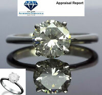 ROUND BRILLIANT DIAMOND RING REAL SOLITAIRE 18K WHITE GOLD 4 CARATS ESTATE