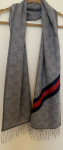NWT $450+Gucci Heritage Wool Blend Nikky Jacquard Striped Scarf,Color Zinc/Blue