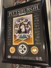 HIGHLAND MINT PITTSBURGH STEELERS TEAM FRAMED PHOTO 2 COINS NAMES ETCHED