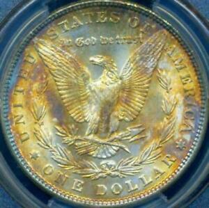 1886 $1 Morgan ((Beautiful RAINBOW Toning)) PCGS MS-65