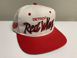 Vintage Detroit Red Wings Sports Specialties Script Snapback Hat Cap Nhl White