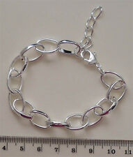 Complete silver plated wide link bracelet chain with extender, ideal for charms