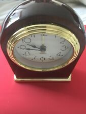 Mantle / Desk Quartz Clock Contemporary High Gloss Mahogany w/ Gold Trim