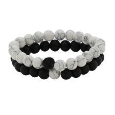 Long Distance Relationship Bracelets for Couple Black Matte Agate White 6mm