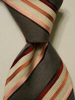 ERMENEGILDO ZEGNA Men's 100% Silk Necktie ITALY Luxury STRIPED Brown/Pink EUC