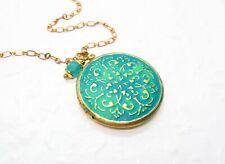 Halskette SAMARKAND Medaillonkette handmade Medaillon Messing Medallion türkis