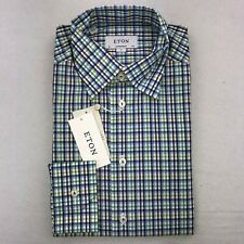 NWT ETON CONTEMPORARY FIT BUTTON DOWN DRESS SHIRT 15.5 EUR 40 GREEN & BLUE $275