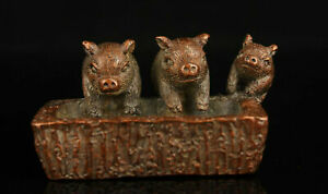 Chinese Hand-carved Three Pig Statue Retro Red Copper Mini Incense Holder