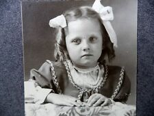 Antique B&W Pretty Little Girl White Hair Bows Ringlets Beaded Necklace
