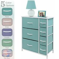 Nightstand Chest 7 Drawers Bedside Dresser Furniture for Bedroom Office Organize