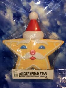 1996 Union Products Gingerbread Santa Star Blow Mold-NOS
