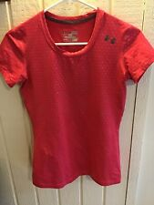 Under Armour Womens Heatgear Short Sleeved Activewear Top Size XS Red