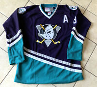 Throwback #8 Teemu Selanne The Mighty Ducks Hockey Jersey Stitched Purple