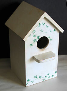 White with green ivy Bird House Yard Patio Garden composite wood shabby FREE SH