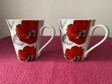Price & Kensington Porcelain - Poppy / Poppies - Grey & Red - 2 Mugs - Excellent